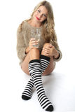 Young Woman Wearing a Jumper and Knee Socks Stock Photography