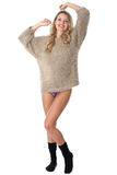 Young Woman Wearing a Jumper and Socks Royalty Free Stock Photos