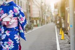 Woman wearing kimono traditional walking on street Royalty Free Stock Photo