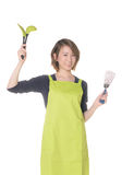 Young woman wearing kitchen apron Stock Image
