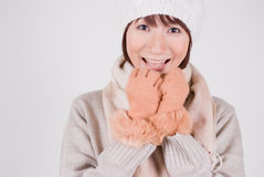 Young woman wearing knit hat. Smiling Stock Photography