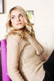 Young Woman Wearing Light Brown Knit Jacket Stock Photo