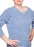 Young woman is wearing long sleeved telnyashka russian navy striped shirt Stock Image