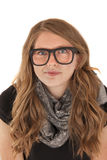 Young woman wearing nerdy black glasses with sober expression Royalty Free Stock Photos