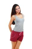 Young woman wearing purple shorts Stock Image