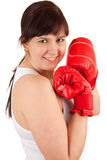 Young woman wearing red boxing gloves Stock Photo