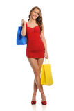 Young Woman wearing a red dress Royalty Free Stock Image