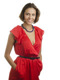 Young woman wearing red dress. Royalty Free Stock Photography