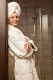 Young woman wearing a robe Royalty Free Stock Photography