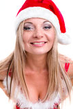 Young woman wearing santa claus clothes. Posing Royalty Free Stock Photos
