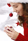 Young woman wearing santa hat Royalty Free Stock Image