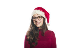 young woman wearing a santa hat Stock Photo