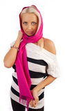 Young woman wearing scarf Stock Images