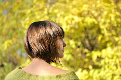 Young woman wearing short bob hairstyle. Beautiful young woman wearing short bob hairstyle autumn outdoor, focus on a hair Stock Photography