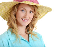 Young woman wearing straw hat Royalty Free Stock Photo
