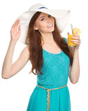 Young woman wearing summer hat Royalty Free Stock Photos