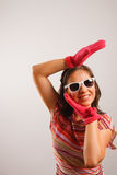 Young woman wearing sun glasses. Modern looking young woman wearing sun glasses Stock Photos