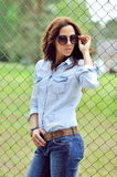 Young woman wearing sunglasses - outdoor Stock Photo
