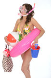 Young Woman Wearing a Swim Suit on Holiday Wearing a Snorkel Stock Images