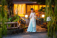 Young woman wearing traditional japanese kimono Stock Photo