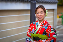 Young woman wearing traditional japanese kimono Royalty Free Stock Photo