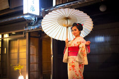 Young woman wearing traditional japanese kimono Royalty Free Stock Images