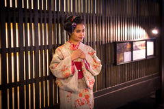 Young woman wearing traditional japanese kimono Royalty Free Stock Photos