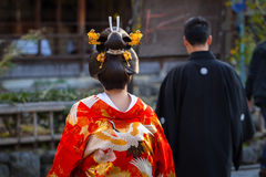 Young woman wearing traditional japanese kimono Royalty Free Stock Photography