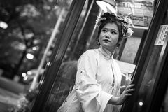 Young woman wearing traditional japanese kimono walk on the street of Gion, Kyoto Royalty Free Stock Photo