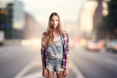 Young Woman Wearing Trendy Attire Royalty Free Stock Photos