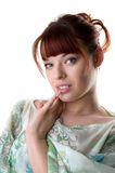 Young woman wearing a tunic close-up Stock Photography