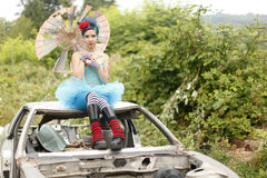 Young woman wearing tutu Stock Photography