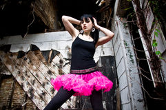 Young Woman Wearing a Tutu. Pretty young woman wearing a pink tutu in an abandoned building Stock Photos