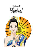 Young woman wearing typical thai dress , identity culture of thailand. Royalty Free Stock Images