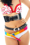 Young woman wearing underwear and three belts Royalty Free Stock Photo