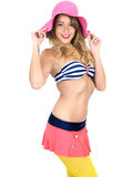 Young Woman Wearing Vintage Bikini and a Straw Sun Hat Royalty Free Stock Photography
