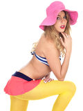 Young Woman Wearing Vintage Bikini and a Straw Sun Hat Stock Photos