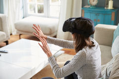 Young Woman Wearing Virtual Reality Headset In Studio Stock Photography