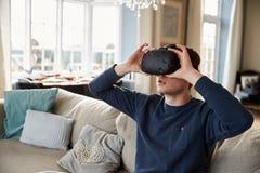 Young Woman Wearing Virtual Reality Headset In Studio Stock Image