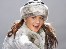 Young Woman Wearing Warm Winter Clothes Stock Images