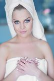 Young Woman Wearing White Bath Towel Royalty Free Stock Photos