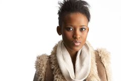 Young Woman Wearing Winter Clothes In Studio Stock Images