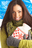 Young Woman Wearing Winter Clothes In Studio Stock Photos