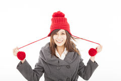 young woman wearing winter coat Royalty Free Stock Photos
