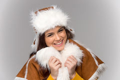 Young woman wearing winter coat. Royalty Free Stock Photography
