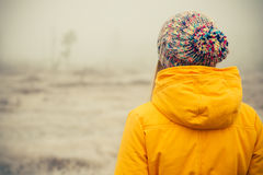 Young Woman wearing winter hat clothing outdoor Stock Photo