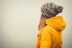Young Woman wearing winter hat fashion clothing Stock Photos