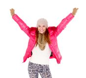 Young woman wearing winter jacket scarf and cap Royalty Free Stock Photos
