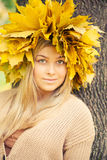 Young woman wearing a wreath of leaves Stock Photography