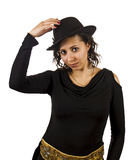 Young Woman Wears a Hat. Young Salsa Dancer Woman Wears a Hat Royalty Free Stock Photo